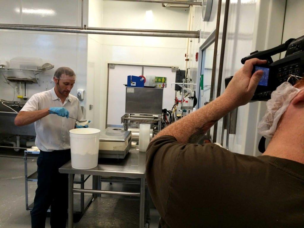 Cheesemaker Ron Henningfeld packages Quark cheese at Clock Shadow Creamery in Milwaukee
