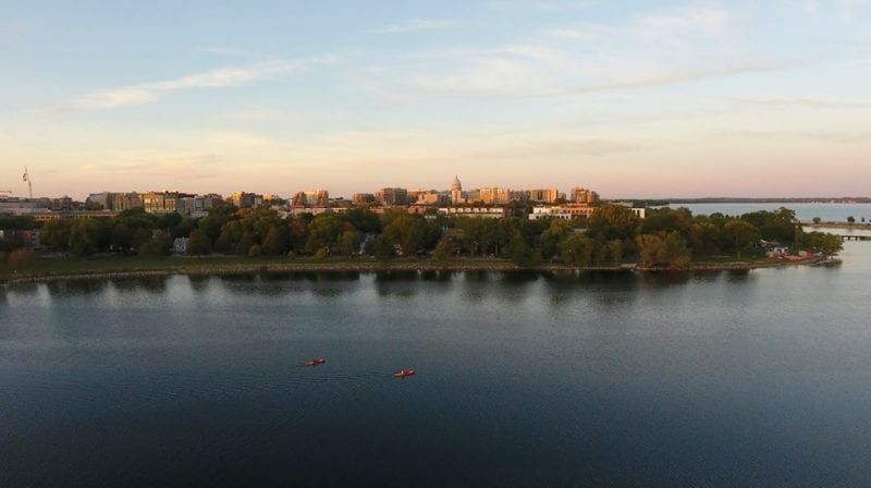 The view of the isthmus via the Discover Wisconsin drone.