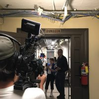 Filming the dungeon at the Old Crawford County Jail