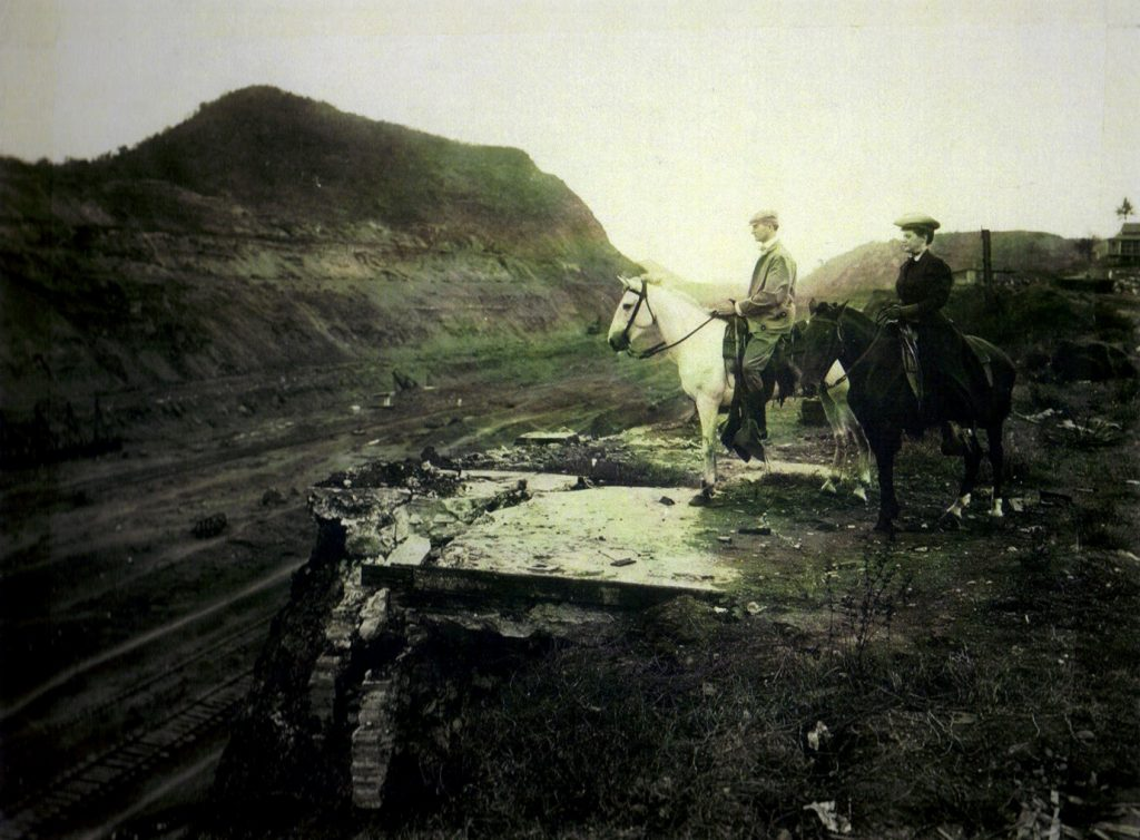 Edward Schildhauer and his wife Ruth look over the Panama Canal on horseback