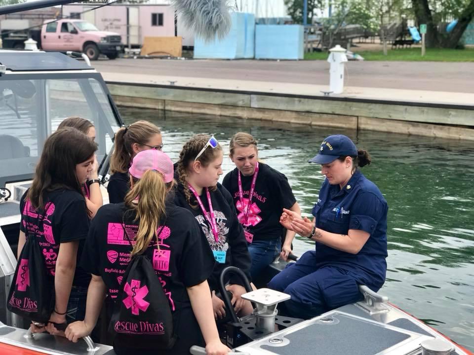Campers visit the U.S. Coast Guard in Bayfield, Wis.