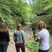 Filming an interview in Parfrey's Glen