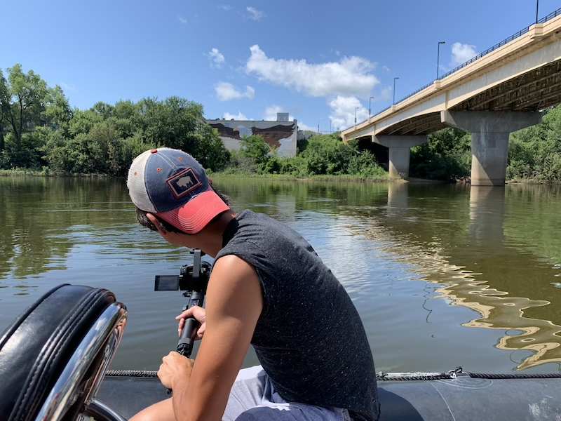 Filming along the Wisconsin River