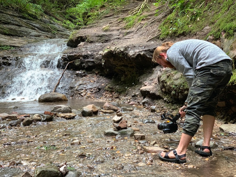 Filming the Parfrey's Glen Waterfall
