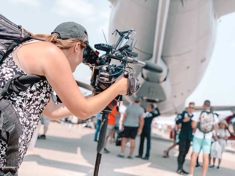 Filming at EAA's AirVenture